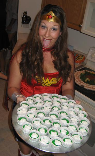 80s Party - Wonder Woman serves vodka Jell-O Shots.JPG