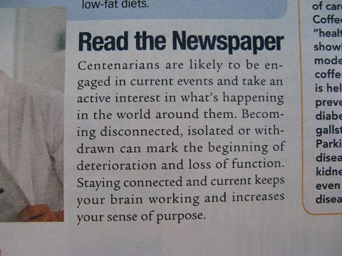 Parade Magazine - Suggests reading the newspaper to live longer.JPG